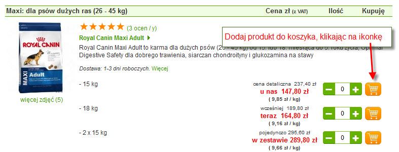 Wybór produktu bezpośrednio z listy