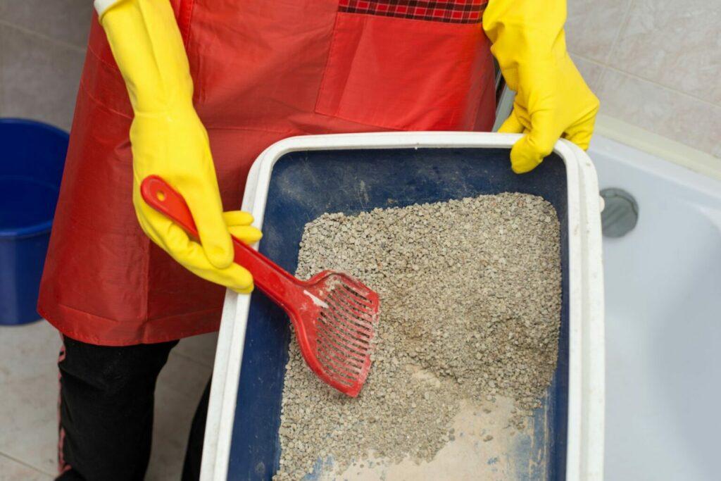 sprzątanie żwirku dla kota